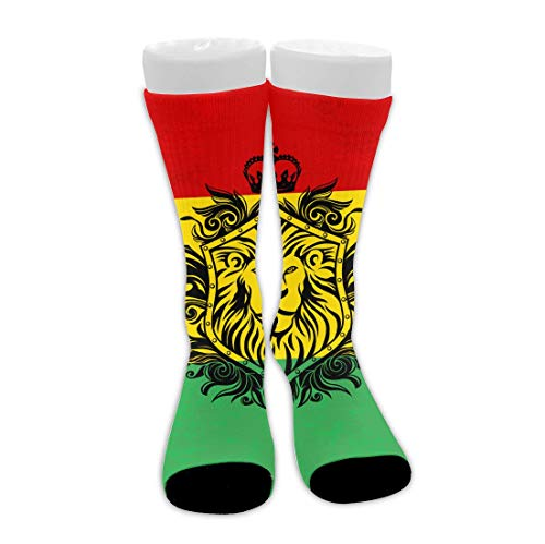 Bingyingne Reggae Rasta Flag Lion Calcetines altos de tobillo transpirable con cojín para hombres, mujeres, niñas, niños, novedad, viajes, senderismo, calcetines, tobilleras suaves y transpirables