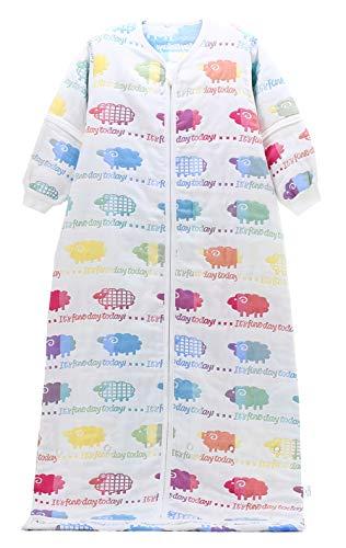Chilsuessy Kinder Schlafsack mit Einstellbare Länge Baby Schlafsack mit abnehmbaren Ärmeln 2 Tog für Jungen und Mädchen von 1 bis 10 Jahre alt, Lamm / 2 Tog, 120/Baby Hoehe 100-120cm