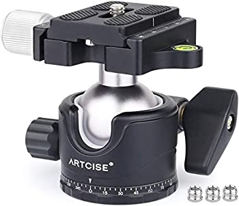 Low Profile Ball Head 36mm Stability Panoramic Tripod Head 360 Rotating Professional Metal Ballhead with 1/4 inch QR Plate for DSLR Cameras Tripods Monopods Camcorder Slider Max Loading 33lbs/15kg
