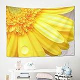 Gamoii Sonnenblume Blütenblatt Tau Wandbehänge Wandtuch Tapestry Picknickdecke Strandtücher Yogamatte Behaglichkeit Wanddeko Sofabezug, poliéster, Blanco, 230x150cm