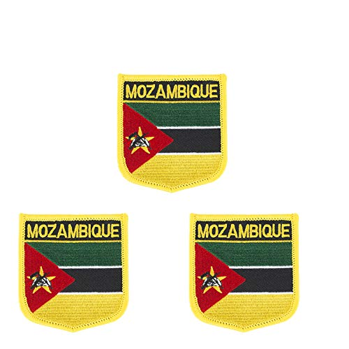 3 Stück Mosambik Flagge bestickt Shiled Form Aufbügler Applikation Aufbügler Aufnähen