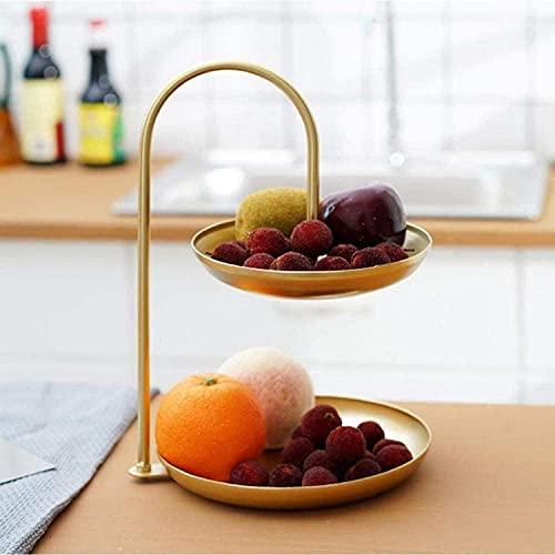 Cesta para tazón de frutas y verduras, tazones de frutas, cesta para frutas, cesta para frutas, tazón de fuente, diseño de hamaca oscilante de 2 niveles, soporte de exhibición de almacenamiento de