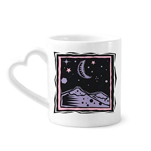 DIYthinker Purple Mountain Mond-Stern-Element Gravieren Kaffeetassen Keramik Keramik-Schale mit Herzen Griff 12 Unzen Geschenk Mehrfarbig