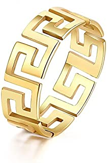 BESTPICKS Titanium Stainless Steel Hollow Out Golden Decorative Pattern Rings For Women