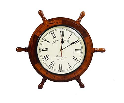 Antique Wood Creation Nautical Wooden Ship Wheel Clock - Steering Wheel Clock - Home Decor Wall Clock Gifts Ideas ( White Face Clock) (Small - 15)