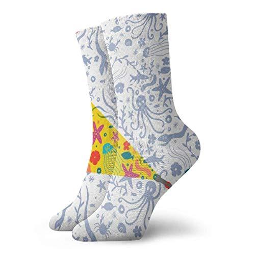 Tammy Jear Chaussettes de compression classiques, Deep She Exploration White Sport Athletic 11.8inch (30cm) Long Crew Socks for Men Women