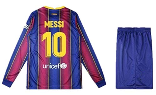 Kids/Youths Sportswear 2020/2021 Season Home Soccer T-Shirts Long Sleeve Jersey/Short/Socks (Barcelona Messi #10(10-11years/size26)) Blue/Red