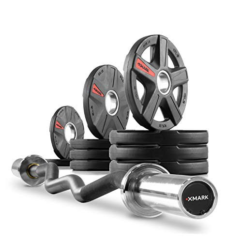 XMark Olympic Bar Curl Bar with Weights Offer, Olympic Weights 65 lb Set of Texas Star Olympic Weight Plates, Rubber Coated, Patented Design XM-3389 with EZ Curl Bar, Black Manganese 28mm XM-3675