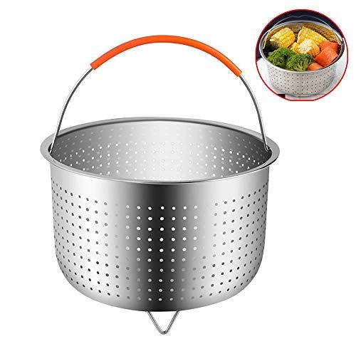 MCUILEE Vaporeras para ollas, Cesta de vapor con inserto para cocinar arroz de acero inoxidable Cesto de limpieza de frutas multifunción con asa cubierta de silicona