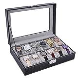 AUTOARK Leather 6 Watch Box Glass Top Watch Jewelry Display Case Organizer,Black,AW-046