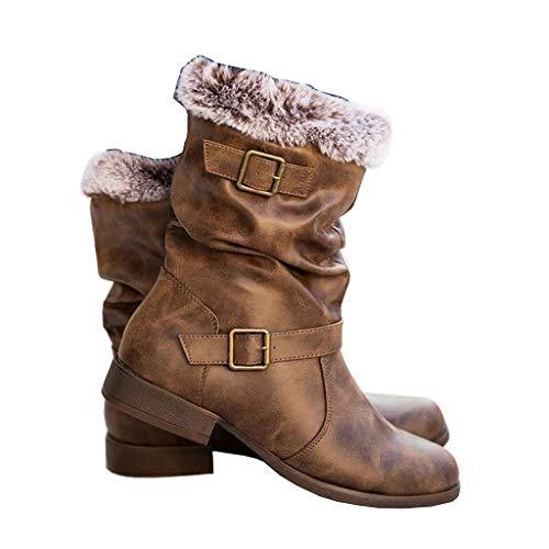 Botas Altas Invierno Mujer, Botas de Nieve Caña Ancha Zapatos Mujer Cuña Planos Sintética Peluche Jinete Bajo Cómodos Peludas Calentitas 2020