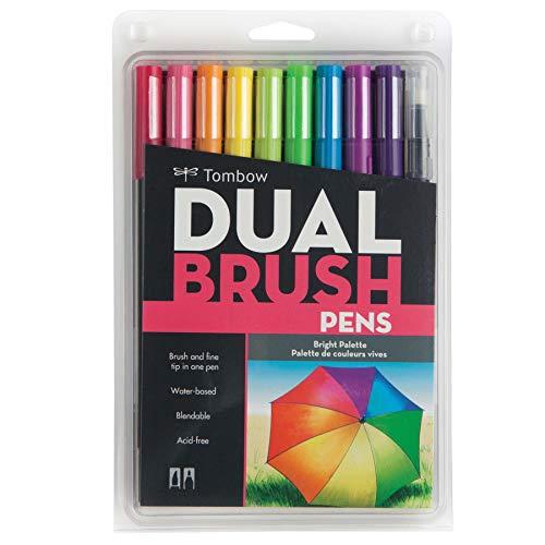 トンボ鉛筆 筆ペン デュアルブラッシュペン ABT 10色セット ブライト AB-T10CBR