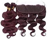 3pcs body wave human hair bundles for women,wig hair curtain spring chemical fiber high temperature silk matte,curls brazilian virgin human hair wig (red)