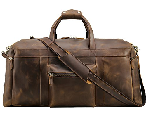 Texbo Men's Thick Cowhide Leather Vintage Big Travel Duffle Luggage Carry on Hand Bag with YKK Zippers (Brown X Large 25')