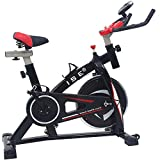 ISE Bicicleta Spinning Estática con Sensor de Pulso, Volante de Inercia, Ajustable Resistencia,Bicicleta Fitness de Gimnasio Ejercicio con Pantalla,Soporte, Sillín Ajustable,Máx.120kg,SY-7802