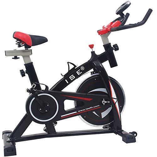 ISE Spinning Bike Ergonomica, Bicicletta Cyclette da Allenamento,Volante di Inerzia 10 kg,...