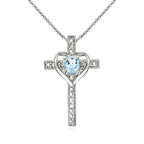Sterling Silver Blue Topaz Cross Heart Pendant Necklace for Girls, Teens or Women Blue Topaz Heart Cross