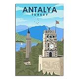 HKHK Antalya City Vintage-Reiseposter, Wanddekoration,
