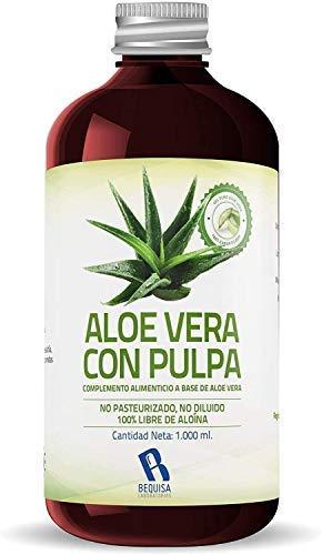 Jus d'Aloe Vera pur   Produit concentré à base de jus d'Aloe Vera avec pulpe - Supplément pour réguler le transit intestinal -Litre