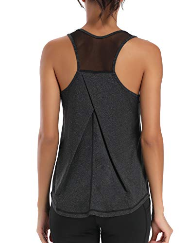 Aeuui Workout Tops for Women Mesh Racerback Tank Yoga Shirts Gym Clothes Black