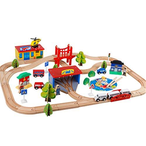 Juego de pistas de tren de madera para niños niños pequeños y niñas 3, 4, 5 años de edad y hasta 80 piezas de juguetes de construcción Vía de tren de madera ( Color : Natural , Size : One size )