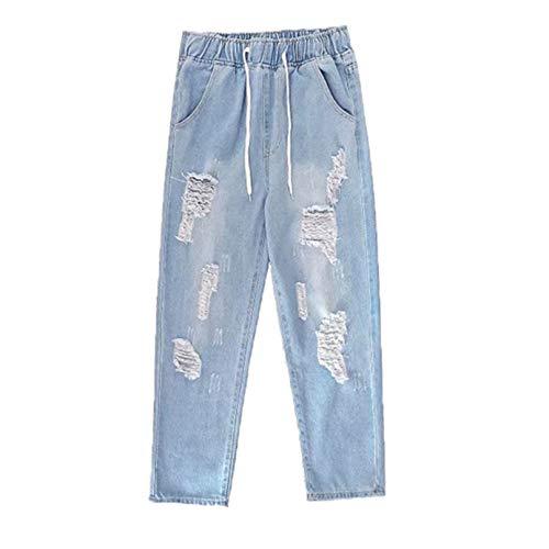 Feidaeu Pantaloni Harem da Uomo Jeans Strappati Tasche Elastiche in Vita Pantaloni Casual Larghi Dritti