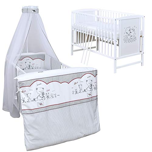 Baby Delux Babybett Komplett Set Kinderbett Mia weiß 120x60 Bettset Matratze in vielen Designs (Bear Family)