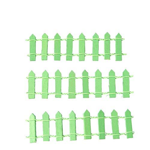 SUPVOX 10pcs Clôture de Jardin Miniature en Bois Décoration Ornement Fête de Mariage Miniature Bonsai Terrarium 10 x 3cm Vert