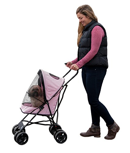 Pet Gear Travel Lite Plus Stroller, Compact, Easy Fold, No Assembly Required, Rose Quartz (TL8150RQ)