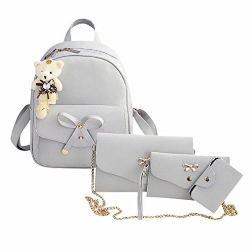 Bolsos Mujer baratos 4Pcs Conjunto Bolsos mochila de Mujer de Cuero + bolso bandolera mujer bolsos hombre + Bolso de mano + Bolsos totes (A, Gris)