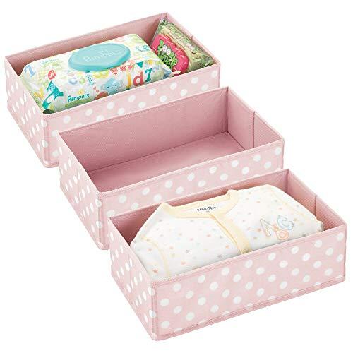 mDesign Juego de 3 Cajas de almacenaje para habitación Infantil o baño – Cesta organizadora Plegable a Lunares con 2 Compartimentos – Organizador de armarios en Fibra sintética – Rosa y Blanco
