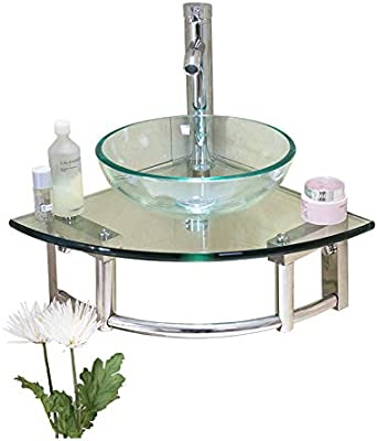 Rockhm Js 15 7 Corner Glass Wall Mounted Round Vessel Bathroom Sink With Towel Bar Faucet Pop Up And P Trap Amazon Com