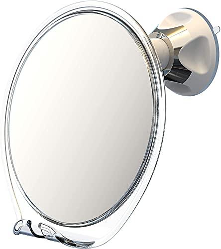 Luxo - Espejo de afeitado para el baño con revestimiento antivaho y una potente ventosa - Espejo para la ducha con soporte para cuchilla y pinzas