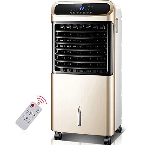 kts Aire Acondicionador portátil Climatizador Frío Calor Humidificador Purificador aire Ventilador de aire Acondicionado con control remoto tanque de agua grande de 12L / dorado / 81x38x35cm