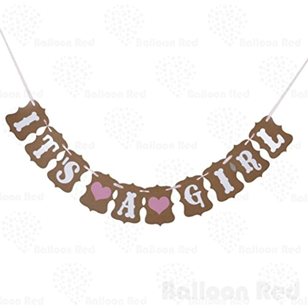 IT IS A GIRL LOVE HEART Paper Party Decoration Bunting Garland Banner