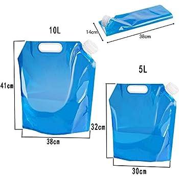 Tuofang 3 Pcs Sacs de d'eau Pliable, 1 * 5 L+ 2 * 10L Poche Sacs à d'eau Portables, Réutilisables Eau Potable Conteneur, pour Le Sport Camping Randonnée Pique-Nique Barbecue