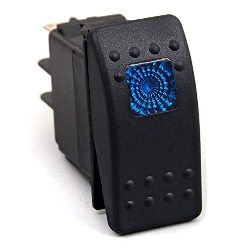 MEI - Interruptor basculante con luz LED azul impermeable de 12 V 20 Amp para barco marino SPST 3P con instalación de luz es simple y el modelo es adecuado (color: negro)
