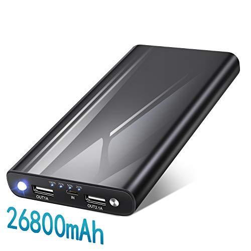 BINKE Batería Externa 26800mAh, Power Bank con 2 Salidas USB y 4 Indicadores de LED Bateria Externa Movil Ultra Capacidad Cargador para Android Smartphones Tabletas y Más