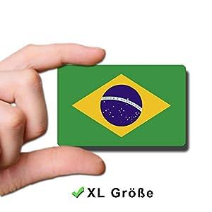 Kühlschrankmagnet Flagge Brasilien – 85×55 mm – Metall Magnet mit Motiv Länderflagge