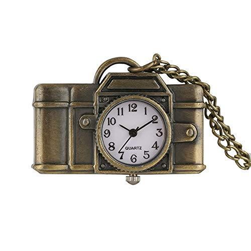 IOMLOP Reloj de bolsilloReloj de Bolsillo de Cuarzo Colgante con Forma de cámara única, Reloj de Bolsillo con Colgante de Moda de Bronce Vintage, Relojes para fotógrafos, Amigos