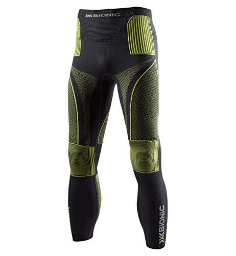 X-Bionic Energy Accumulator Origins Long Pants - Pantalón de compresión para Hombre, Hombre, EA-WP05W18M, Charcoal/Yellow, FR : XL (Taille Fabricant : L/XL)