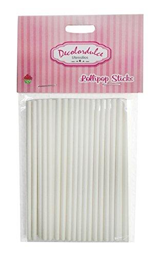 DeColorDulce sg1218 Pop Bâtons, Papier, Blanc, 15 x 10 x 3 cm, Lot de 50