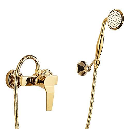 SSYS Grifo de bañera montado en la Pared de Oro Grifo de bañera de Doble función de latón con grifos mezcladores de bañera montados en la Ducha de Mano para el baño del Hotel