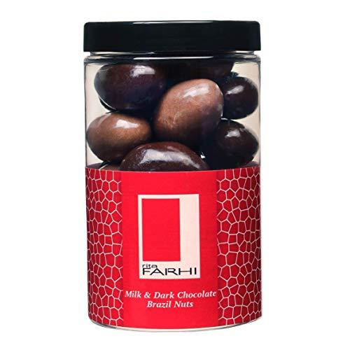 Photo of Rita Farhi Milk and Dark Chocolate Covered Brazil Nuts in a Gift Jar | Vegetarian and Chocolate Gift – Chocolate Coated Nuts – 290 g