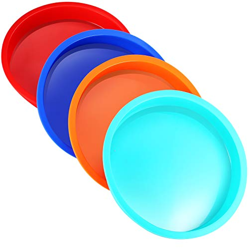 8 Inch Silicone Cake Pan - REVO Round Rainbow Layer Cake Molds, Nonstick & Quick Release Baking Pans for Vegetable Pancakes Pizza Taco Cheese Cakes (Set of 4)