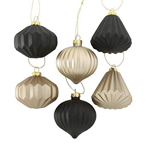 Boltze 6 x Deko Hänger Origami Glas Champagner schwarz Fenster Baum Dekoration Höhe 8 cm