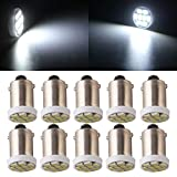 Qasim 10Pcs Nonpolarity AC DC 6V 6.3V T11 T4W BA9S H6W 3886X 1895 1206 8SMD Pinball LED/Toy Vehicles/Battery Car Light Bulbs 6-Volt White