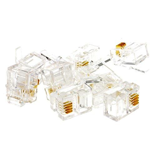kenable RJ11 6p4c Crimps Termina Clavijas para Engaste ADSL Cables - 10 Empacar