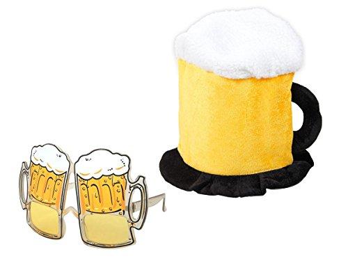 Alsino Party Outfit Bier Fan Set Bierhut Brille Bierkrug Bierglas Humpen Karneval Partyoutfit KV-99