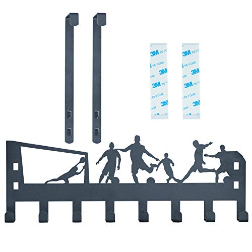 The Removable Door Hook Rack and Bathroom Towel Rack are Used as Wall-Mounted Brackets for Towels, Bathrobes and Nightwear. Each Bracket has Two Hooks and Two Patches.(Black - Soccer Sport)